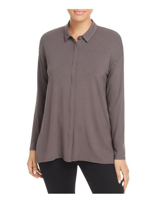 Eileen Fisher   Brown Knit Button-down Top   Lyst