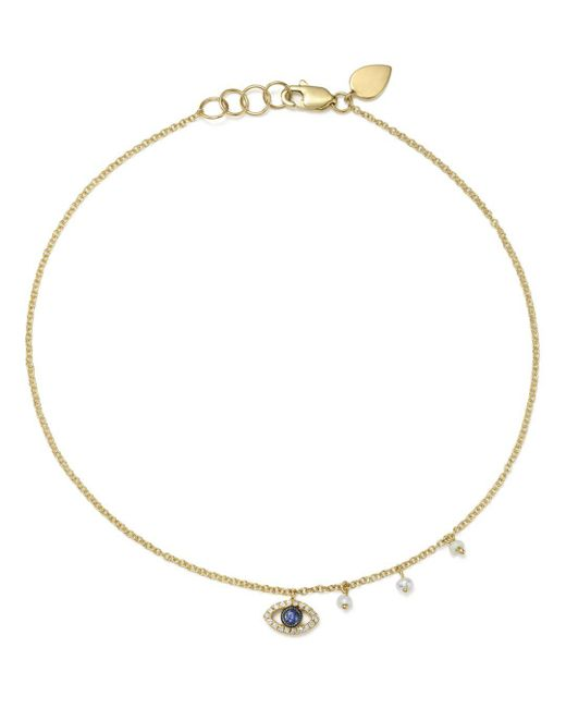 Meira T - Metallic Diamond & Cultured Freshwater Pearl Evil Eye Ankle Bracelet - Lyst