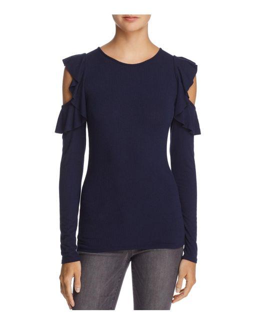 Aqua | Blue Ruffled Cold-shoulder Rib-knit Top | Lyst