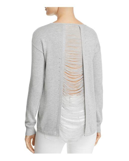 Aqua   Gray Distressed Slit-back Sweater   Lyst