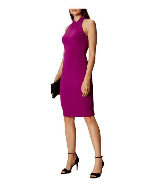 Karen Millen | Purple Cutout Pencil Dress | Lyst