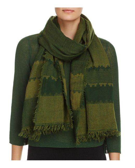 Eileen Fisher | Green Stripe Wool Scarf | Lyst