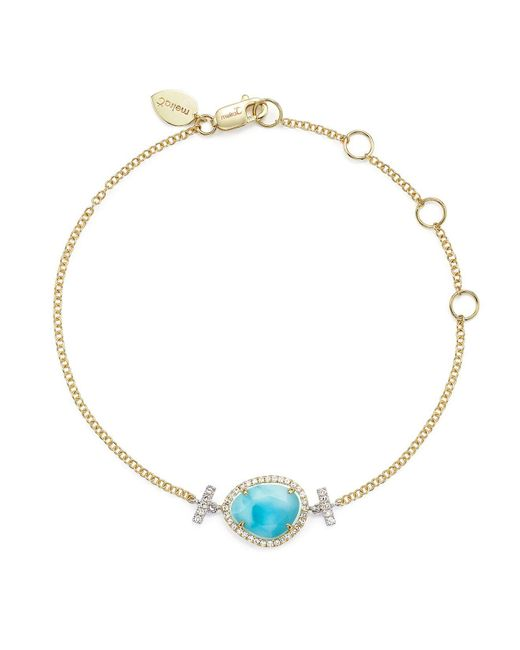 Meira T | Blue 14k White And Yellow Gold Larimar And Diamond Bracelet | Lyst