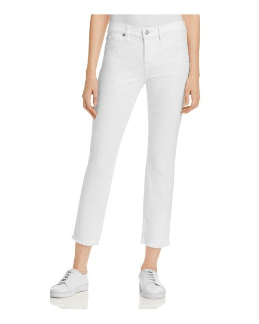 7 For All Mankind - Roxanne Raw Hem Ankle Jeans In White Fashion - Lyst