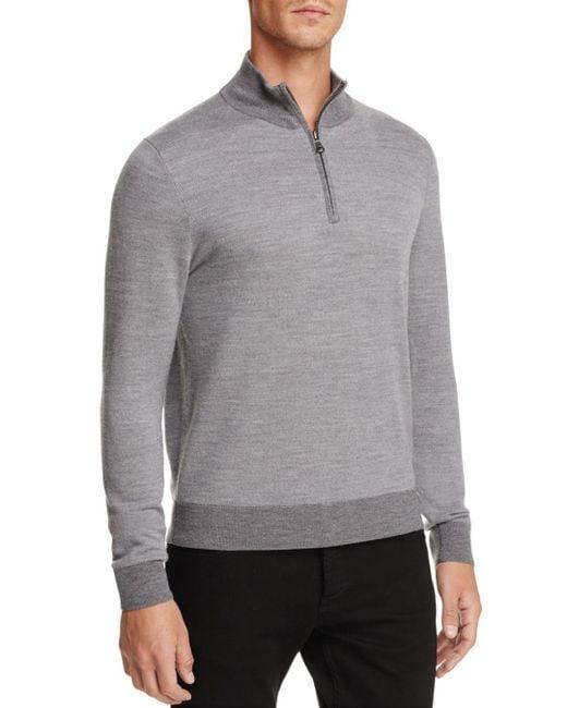 Brooks Brothers - Gray Birdseye Half-zip Sweater for Men - Lyst