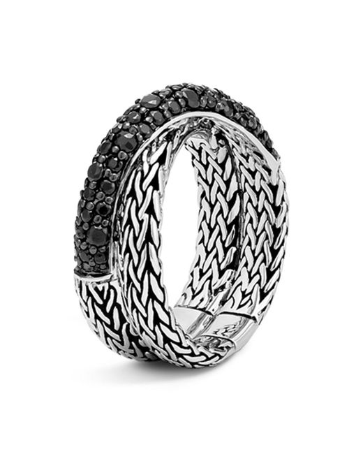 John Hardy - Metallic Sterling Silver Classic Chain Overlap Ring With Black Sapphire - Lyst