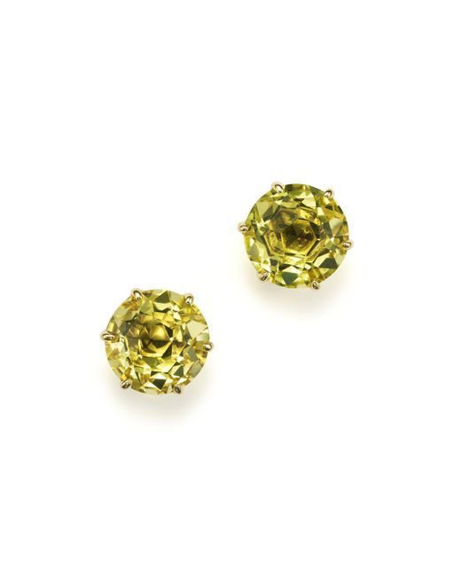 Ippolita | 18k Gold Rock Candy® Medium Round Stud Earrings In Green-gold Citrine | Lyst