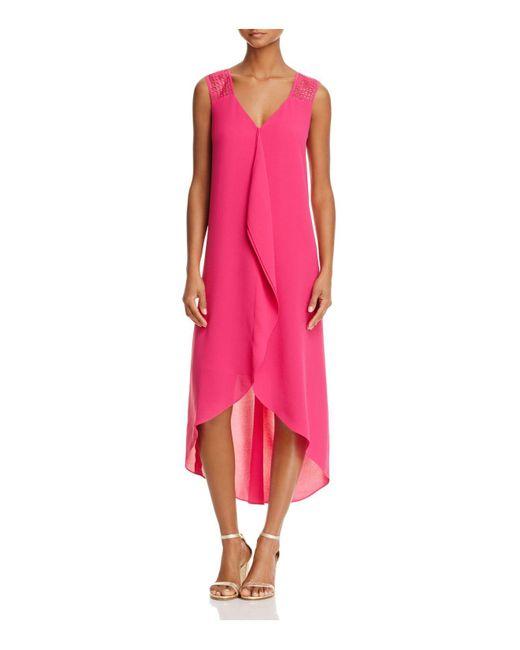 Adrianna Papell | Pink High/low Chiffon Ruffle Dress | Lyst