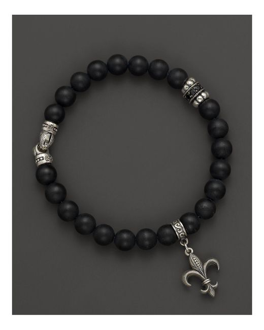 Scott Kay | Mens Sterling Silver and Matte Onyx Beaded Bracelet with Black Spinel Station and Fleur De Lis Charm for Men | Lyst