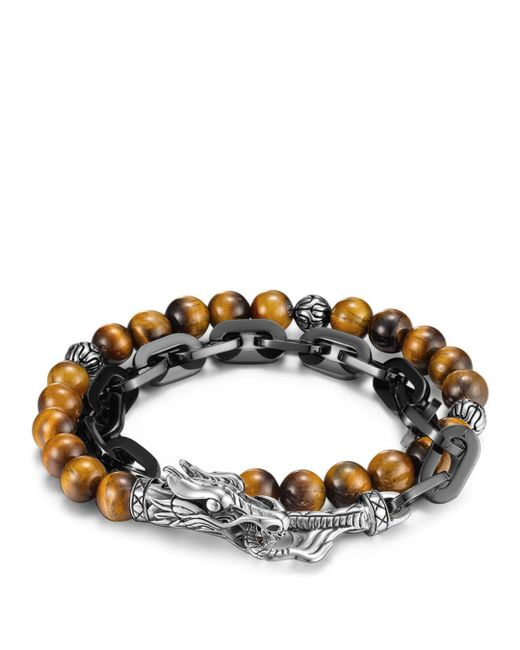 John Hardy - Multicolor Naga Silver Beaded Bracelet for Men - Lyst