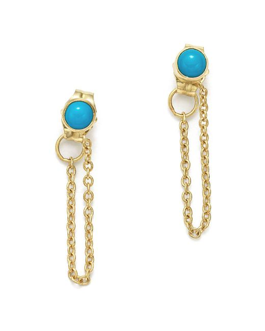 Zoe Chicco - Metallic 14k Yellow Gold Draped Chain And Turquoise Stud Earrings - Lyst