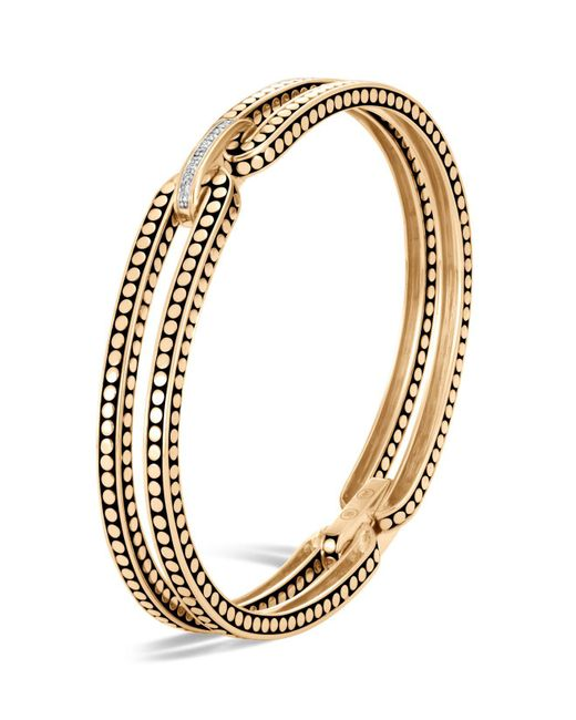 John Hardy   Metallic 18k Yellow Gold Dot Diamond Bracelet   Lyst