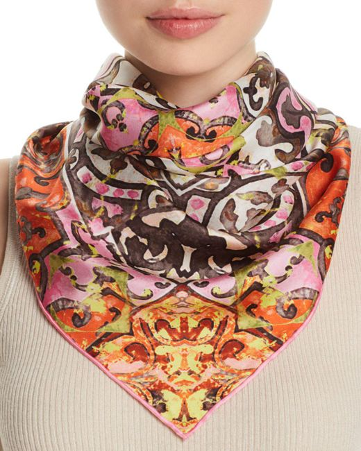 Fraas - Pink Distressed Tile Silk Square Scarf - Lyst