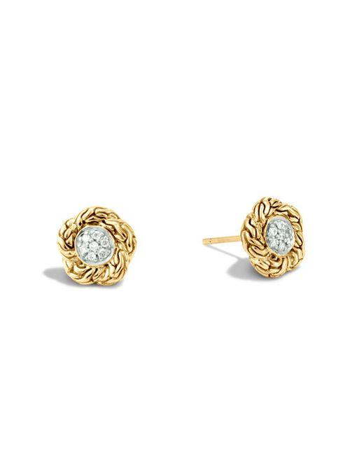 John Hardy | Metallic Classic Chain 18k Gold Diamond Pavé Small Stud Earrings | Lyst