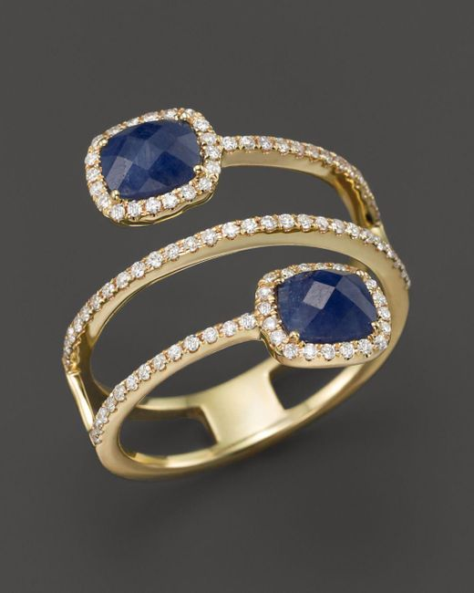 Meira T - Metallic 14k Yellow Gold Blue Sapphire Triple Row Ring With Diamonds - Lyst