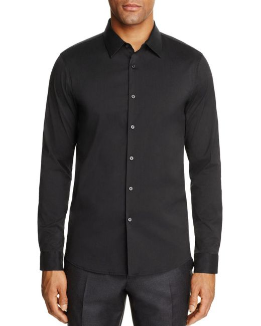 Michael Kors - Black Stretch Cotton Slim Fit Button-down Shirt for Men - Lyst