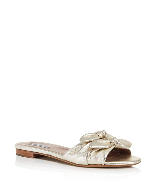 Tabitha Simmons | Cleo Knotted Metallic Leather Slide Sandals | Lyst