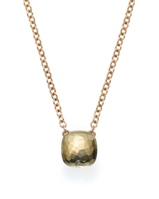 Pomellato - Metallic Nudo Necklace With Prasiolite In 18k Rose And White Gold - Lyst