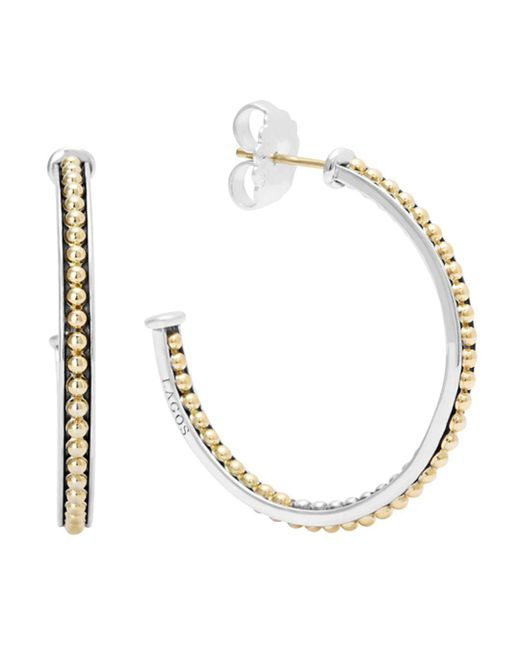 Lagos - Metallic 18k Gold And Sterling Silver Enso Medium Caviar Lined Hoop Earrings - Lyst