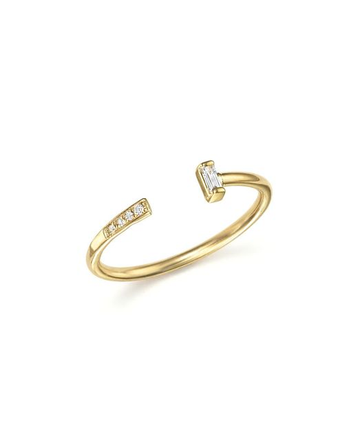 Zoe Chicco | Metallic 14k Yellow Gold Open Ring With Baguette And Pavé Diamonds | Lyst