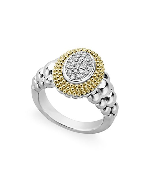 Lagos - Metallic 18k Gold And Sterling Silver Diamond Lux Oval Ring - Lyst