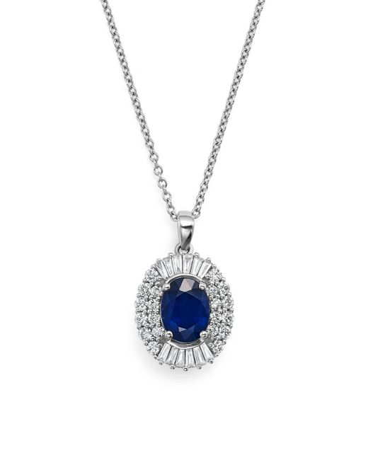 "Bloomingdale's - Blue Sapphire And Diamond Pendant Necklace In 14k White Gold, 18"" - Lyst"