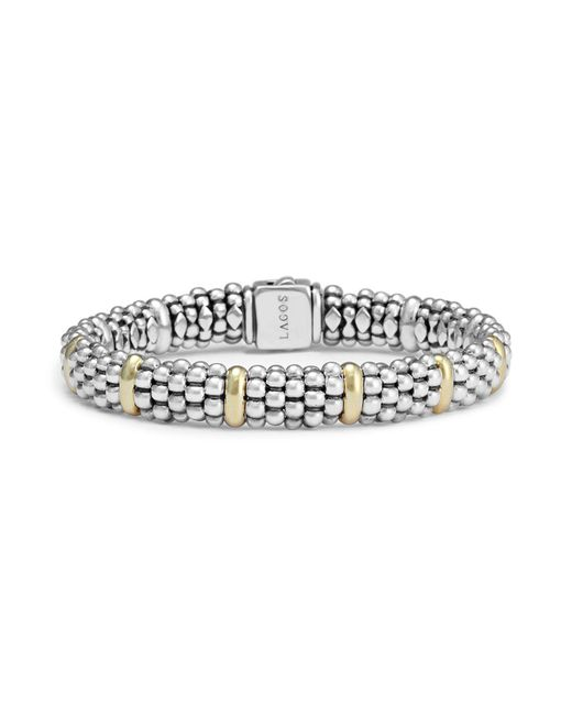 Lagos   Metallic Sterling Silver And 18k Yellow Gold Caviar Beaded Oval Bracelet   Lyst