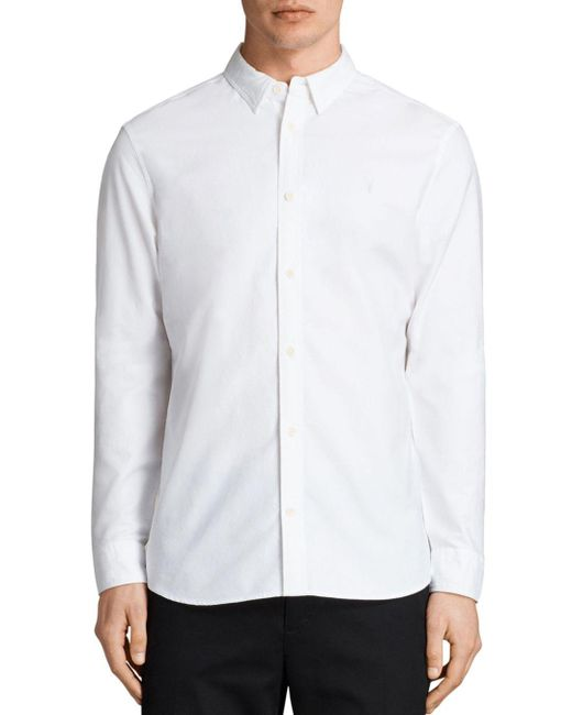AllSaints - White Huntingdon Slim Fit Button-down Shirt for Men - Lyst