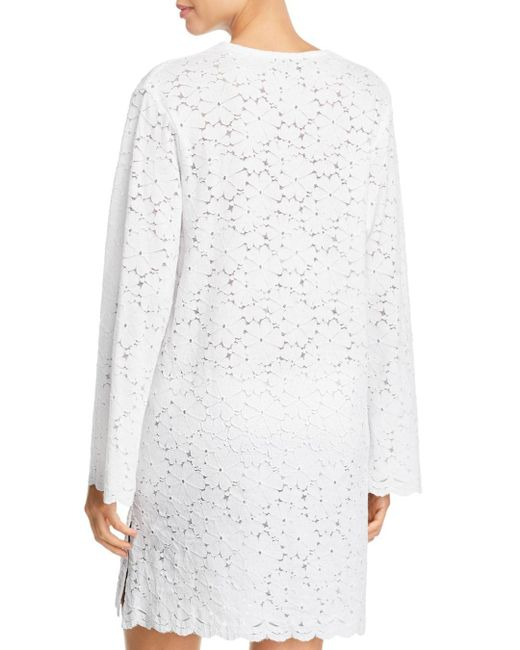 0776532882fdb J Valdi Flower Child V-yoke Lace Tunic Swim Cover-up in White - Lyst