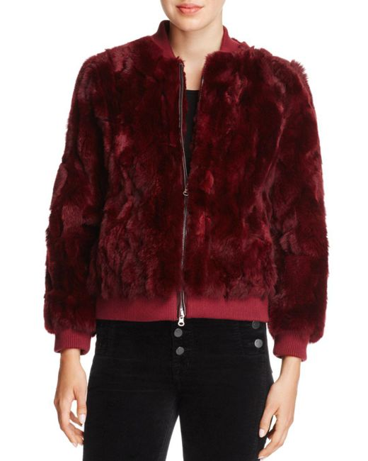 525 America - Red Real Rabbit Fur Bomber Jacket - Lyst