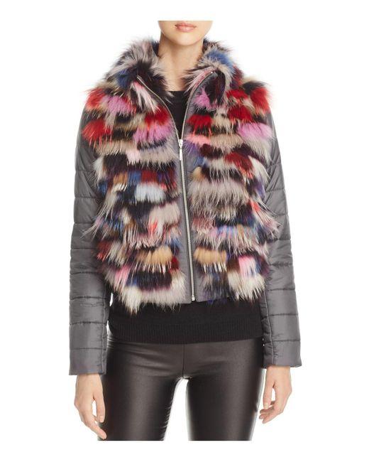 Maximilian | Gray Fox Fur Mixed Media Jacket | Lyst
