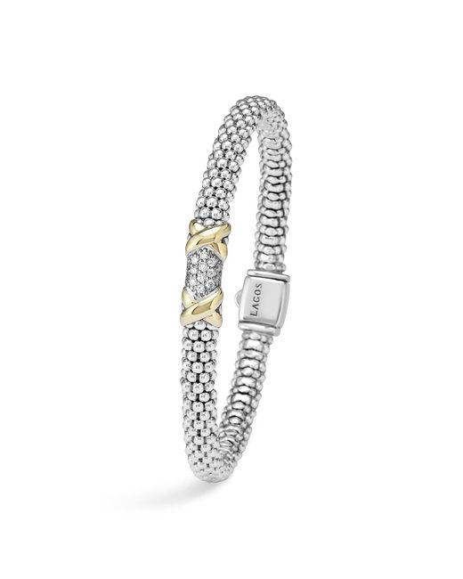 Lagos | Metallic Diamond Lux 18k Gold And Sterling Silver Bracelet With Pavé Diamonds | Lyst