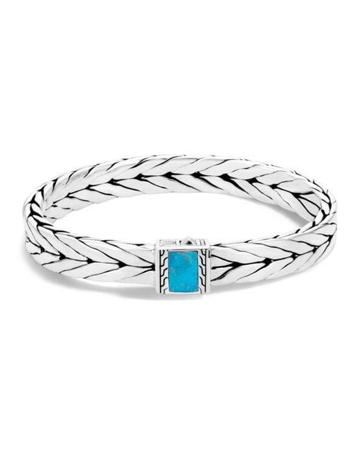 John Hardy - Metallic Sterling Silver Modern Chain Turquoise With Black Matrix Bracelet for Men - Lyst