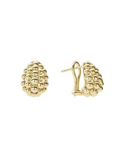 Lagos - Metallic Caviar Gold Dome Omega Earrings - Lyst