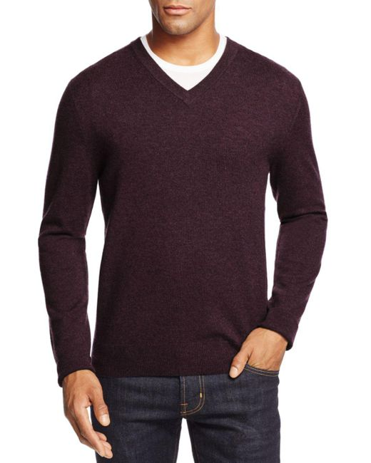 Bloomingdale's - Purple Cashmere V-neck Sweater for Men - Lyst