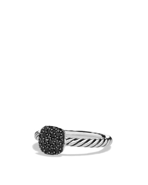 David Yurman | Metallic Pavé Cushion Ring With Black Diamonds | Lyst
