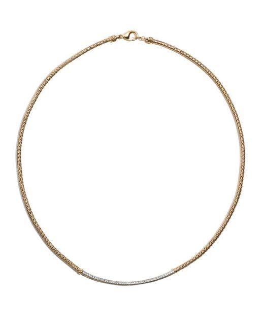 "John Hardy - Metallic Women's Classic Chain 18k Gold Diamond Pavé Station Mini Chain Necklace, 18"" - Lyst"