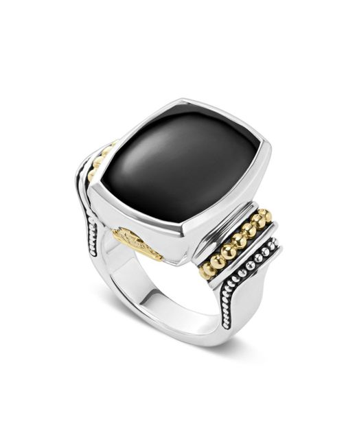 Lagos - Metallic 18k Gold And Sterling Silver Caviar Color Large Onyx Ring - Lyst