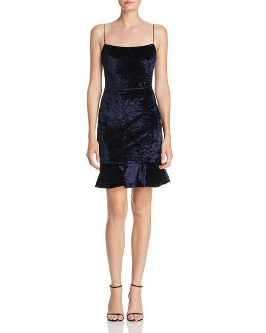 Likely - Blue Flounced Velvet Dress - Lyst
