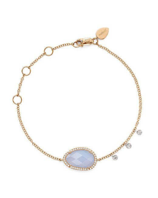 Meira T | Multicolor 14k Rose And White Gold Chalcedony Bracelet With Diamonds | Lyst