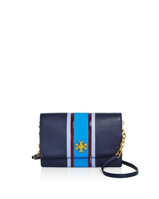 Tory Burch | Blue Georgia Stripe Leather Crossbody | Lyst