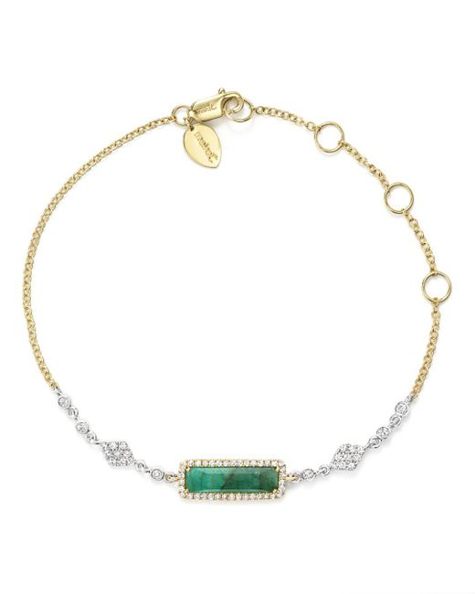 Lyst Meira T 14k Yellow And White Gold Emerald Bracelet With
