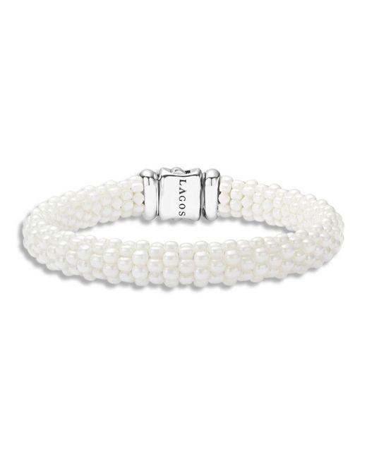 Lagos - White Caviar Ceramic 18k Gold And Sterling Silver Bracelet - Lyst