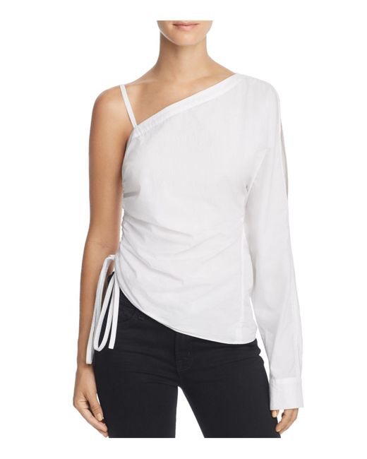 T By Alexander Wang | White One-sleeve Washed Poplin Top | Lyst