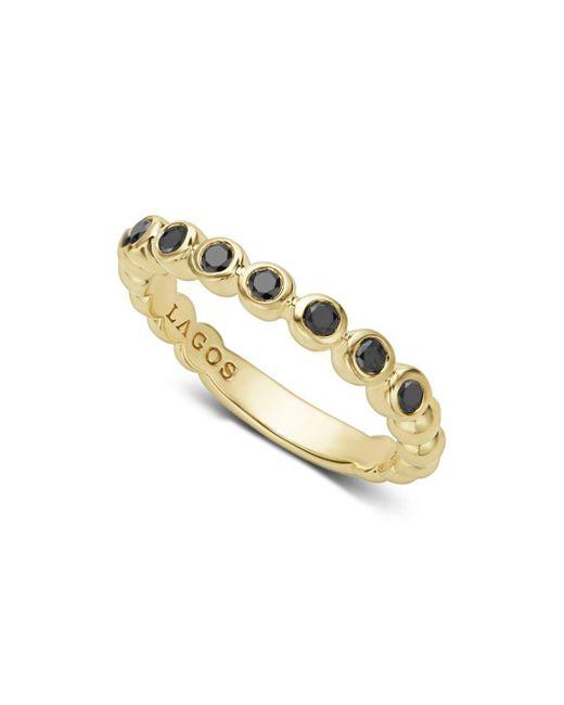 Lagos - Metallic Gold & Black Caviar Collection 18k Gold & Black Diamond Ring - Lyst