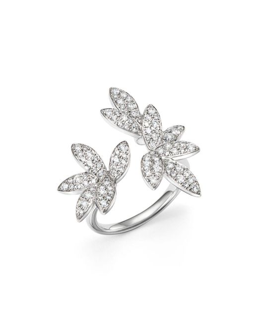 Bloomingdale's - Diamond Pavé Leaf Ring In 14k White Gold, .85 Ct. T.w. - Lyst