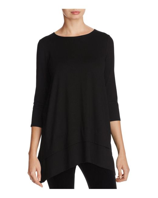 Eileen Fisher | Black Layered Look Tunic Top | Lyst