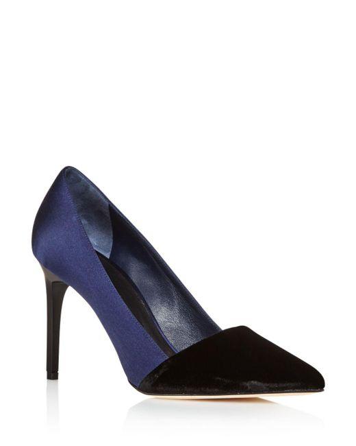 Oscar de la Renta - Blue Vik Velvet And Satin Color Block Pointed Toe Pumps - Lyst