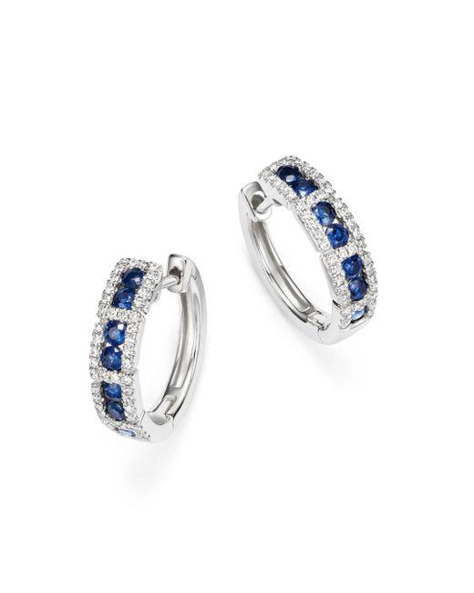 KC Designs - Multicolor 14k White Gold Diamond & Sapphire Huggie Hoop Earrings - Lyst