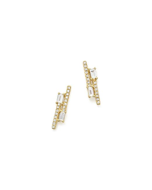 KC Designs | Metallic 14k Yellow Gold Diamond Mosaic Double Row Stud Earrings | Lyst